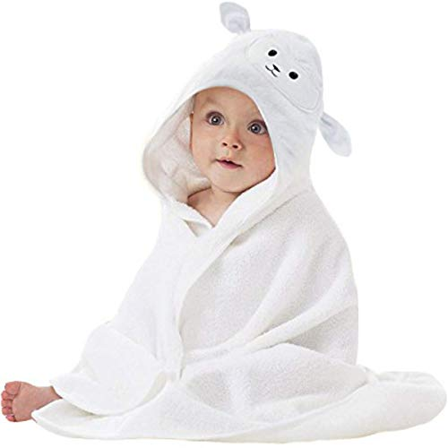 Lucylla Bamboo Baby Hooded Towel | Ultra Soft and Super Absorbent Toddler Hooded Bath Towel with Cute Lamb Face Design | Great Infant/Newborn Shower Present for Boy or Girl