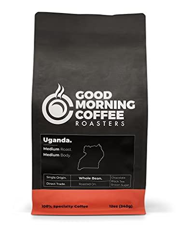 Good Morning Coffee Roasters Specialty Uganda Coffee Beans, Whole Bean medium roast, best single origin coffee, %100 arabica, 12oz bag