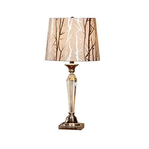 WZHZJ Lámpara de Mesa de Cristal lámpara de la mesita de Noche lámpara de Mesa electrochapado Bronce botón Dormitorio luz Nocturna