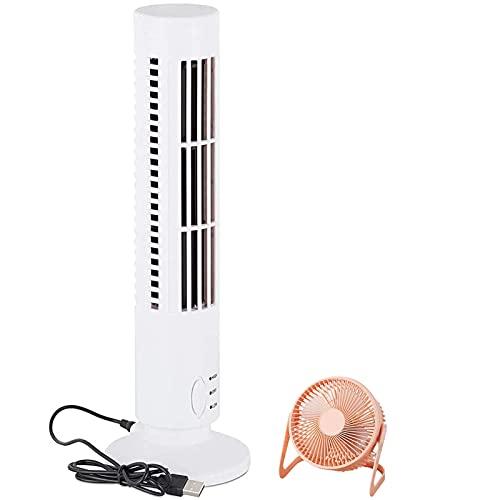 Mini Ventilador De Escritorio USB, Ventilador De Torre Silencioso, Adecuado para Dormitorio, Escritorio, Mesa De Juego (13 Pulgadas) (Color : White)