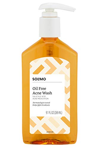 Amazon Brand - Solimo Oil Free Acne Wash, 2% Salicylic Acid Acne Medication, Dermatologist Tested, 9.1 Fluid Ounce