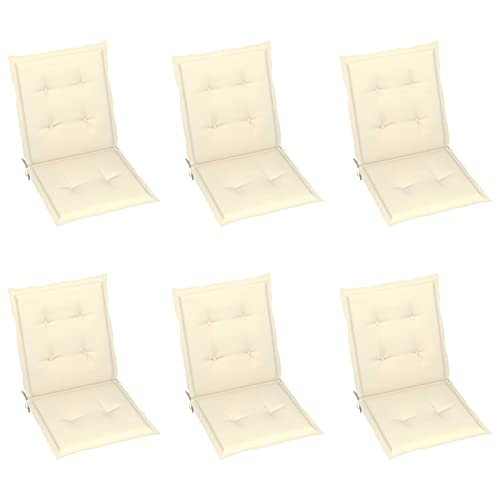 Tidyard 6 pz Cuscini per Sedie da Giardino con Schienale, Cuscini per Sedie da Esterno con Schienale, Cuscini Sedute per Esterno, per Sedie Reclinabili, Spiaggine e Poltrone, Crema 100x50x4 cm