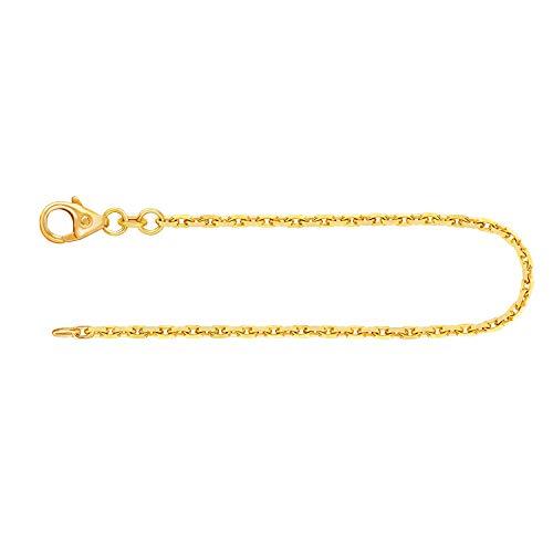 Pulsera fina de oro auténtico para hombre y mujer, 1,8 mm, cadena diamantada de oro amarillo 333, 585, 750, pulsera de oro con sello y cierre de mosquetón, fabricada en Alemania,