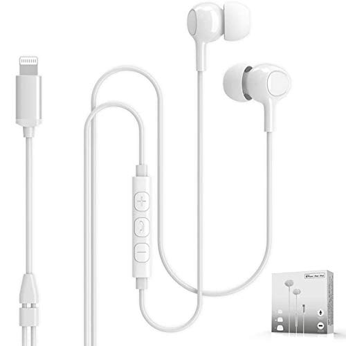 Dairle Lightning Kopfhörer, Noice-Cancelling Kopfhörer mit Mikrofon MFI Zertifiziert Kopfhörer mit Kabel in Ear Kopfhörer mit Lightning Anschluss Kompatibel mit iPhone 12 Pro/Mini 11 Pro usw. (Weiß)