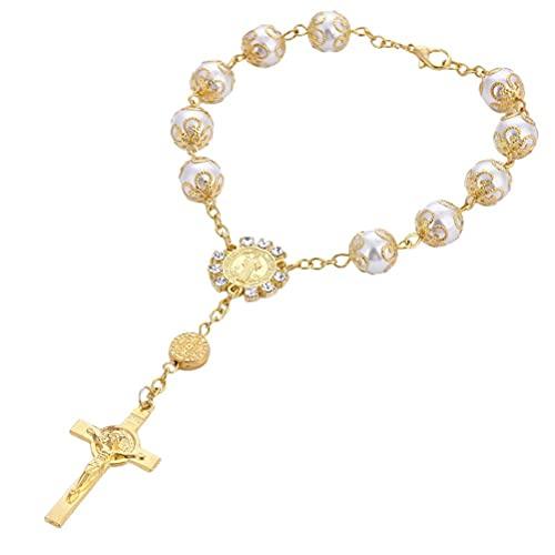 spier Pulsera con cuentas de cruz rosario pulsera de cuentas de cristal, centro religioso, joyería de regalo con flor y bolsa de almacenamiento