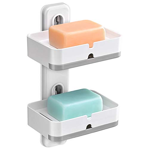 Samhe Soap Holder, Wall Mounted Double Layers Soap Dish Saver with Drain Tray, Adhesive Sponge Holder No-Drilling for Shower Bathroom Kitchen - Plastic, White