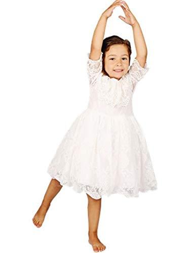 Bow Dream Lace Flower Girl's Dress White 8