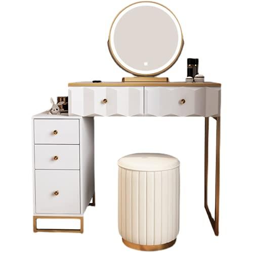 Tavolo da toeletta con specchio per trucchi, cassettiera in legno con cassetti, tavolo da toeletta in legno per camera da letto, scrivania per casa, ufficio studio