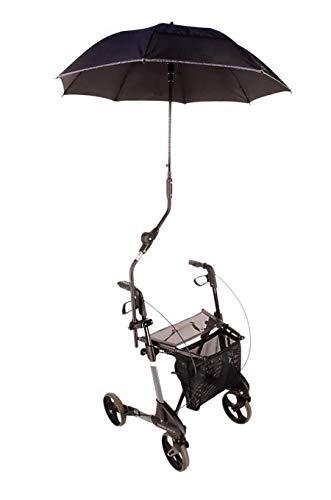 MPB Rollatorschirm für Rollatoren von Topro, passend für Troja, Ecco, Olympos, 2G, schwarzes Gestänge, Schirm Mikrofaser schwarz reflektierende Speichen und Rand