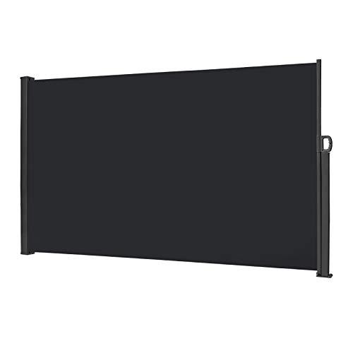 LZQ Seitenmarkise Sichtschutz Sonnenschutz Windschutz, Markisenstoff aus Polyester für Terrasse Camping seitlicher Windschutz (180x300cm, Anthrazit)