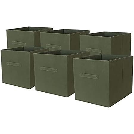 Box and Beyond Lot de 6 paniers intissés Pliables - avec poignées - Polypropylène - Kaki - 31x31x31cm
