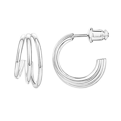 PAVOI 14K Gold Plated Sterling Silver Post Split Huggie Earrings | White Gold Earrings for Women