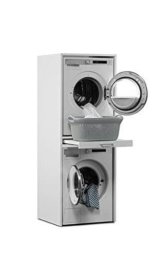 Der Waschturm • Waschmaschinenschrank für Trockner & Waschmaschine • HBT: 185x67x65 cm • TÜV-zertifiziert • Mit Ausziehbrett
