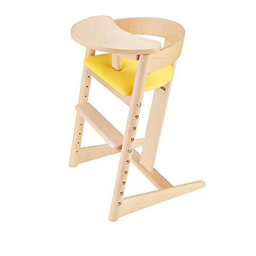 HAOSHUAI Silla de comedor para bebé, silla de comedor infantil, silla de comedor de madera maciza, silla de comedor ajustable perfecta para niños, con cojín (color: amarillo) (color: amarillo)