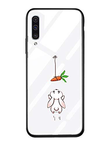 Suhctup Vidrio Templado Case Compatible con Samsung Galaxy Note 10 Funda Transparente Lindo Dibujos Cristal Templado Trasera Carcasa con Suave Silicona TPU Bumper Anti-Amarilla Cover,Conejo Zanahoria