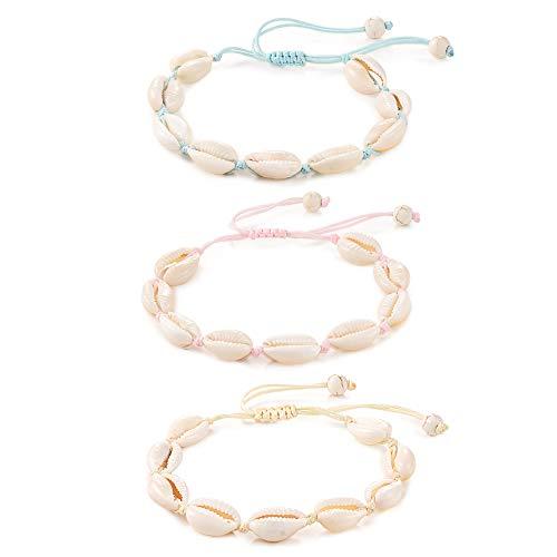 Tarsus Natural Cowrie Puka Shell Bracelets Handmade Boho White Seashell Bracelet Gifts for Women Teen Girls 3 Pcs