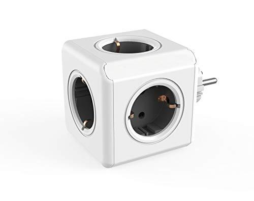 Dr. Bott Power-kubus original, stekkerdoos met 5 stopcontacten, reisadapter en bureau-stopcontact zonder kabel, grijs-wit