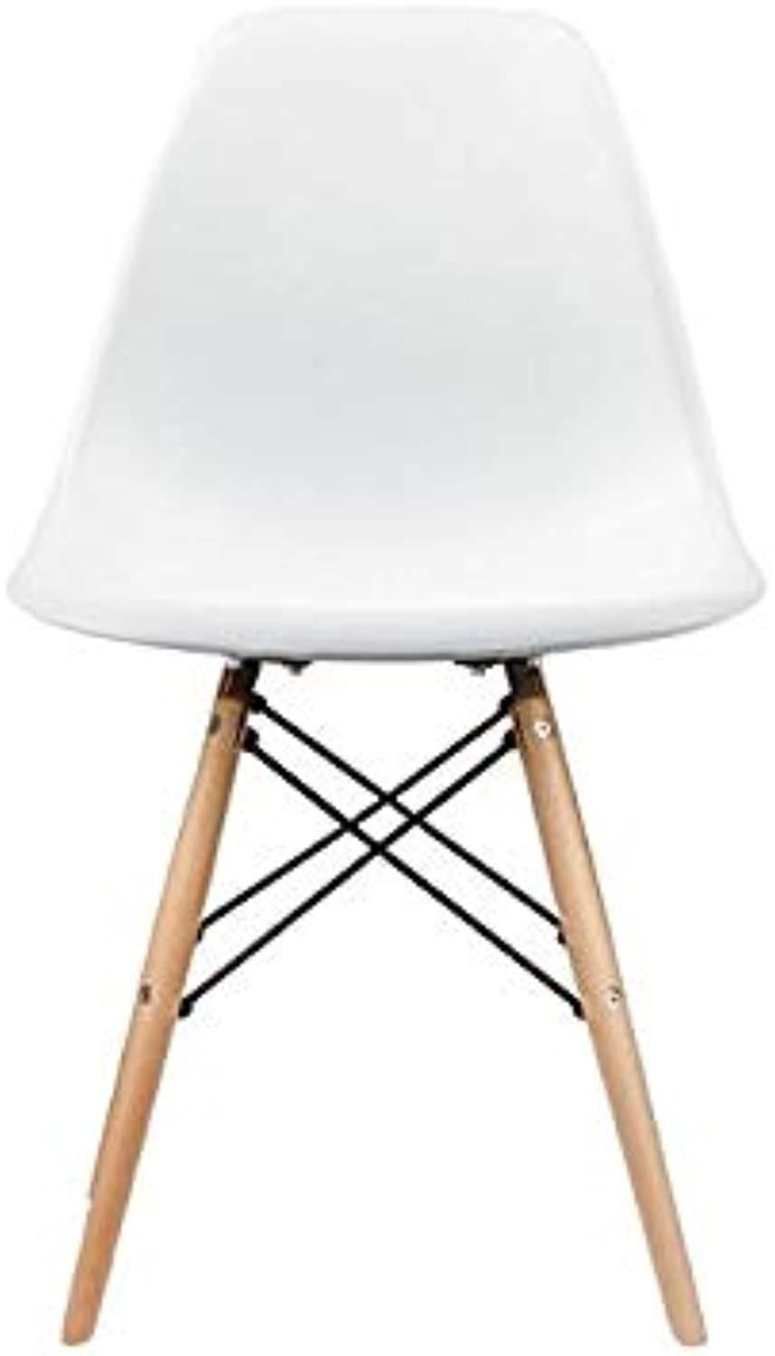 silver Import PDI-PC-0116W Eames Style Side Chair with Natural Wood Legs Eiffel Dining Room Chair, White