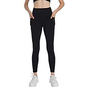 Ginasy Workout Leggings for Women High Waist Mesh Yoga Pants with Pockets Black