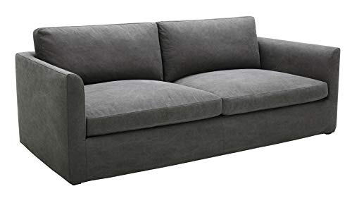 Amazon Brand – Stone & Beam Faraday Down-Filled Casual Slipcovered Sofa, 89'W, Charcoal Grey