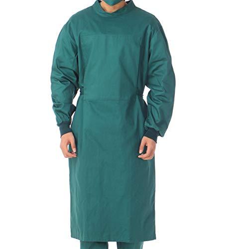 Anti-slip pak, duurzaam, katoen, verpleegster, uniform, lange mouwen, isolatiejurk, voor mannen en vrouwen binnenshuis, donkergroen, maat M