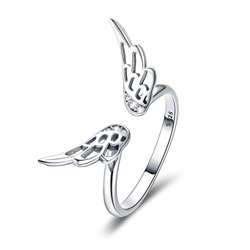 FOREVER QUEEN 925 Sterling Silver Ring Classic Feathers Elf Wings...
