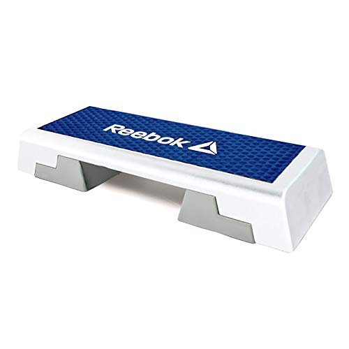 Reebok Adjustable Exercise Step Platform Home Gym Aerobic Workout Equipment with Guided Workout DVD, White Blue
