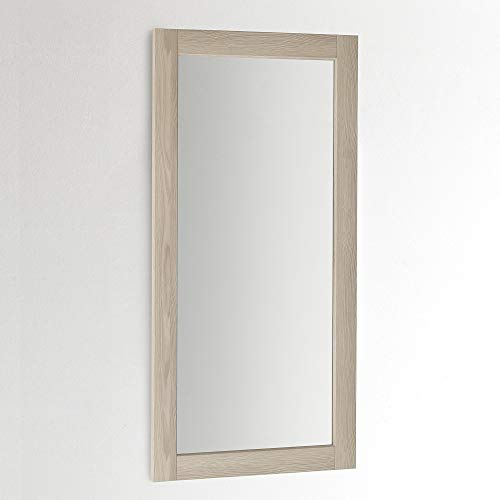 ARHome Specchiera Parete 120 x 60, Frassino Crema, Colore Legno, Specchio Parete Muro, Made in Italy