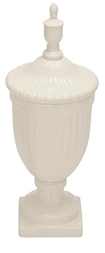 Deco 79 Ceramic Urn, White, 10 by 26-Inch