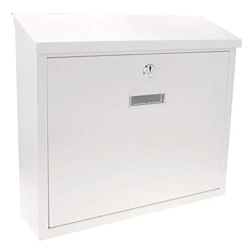 PrimeMatik - Briefkasten Postkasten metallische Weiss Farbe für wallmount 350x90x320 mm