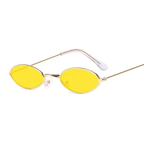 Gafas De Sol Gafas De Sol Redondas De Montura Pequeña con Sombras Negras, Gafas De Sol Ovaladas De Moda Vintage para Mujer, Gyellow
