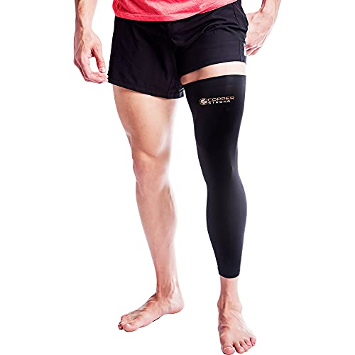 Copper Strong Medias de compresión para hombre y mujer, para pierna completa, con alto contenido de cobre, para rodilla, muslo y pantorrilla, para artritis, venas varicosas (XL)