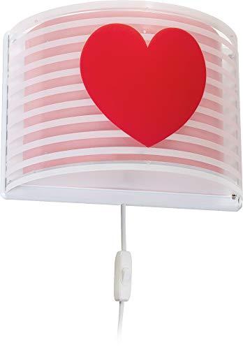 Dalber kinder Wandlampe, Kinderlampe Wandleuchte Light Feeling Herz Rose