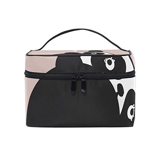 Sac cosmétique avec fermeture à glissière simple couche Quel sac de rangement de voyage Panda Sac de maquillage portable Sac de rangement Organizer Case pour femmes