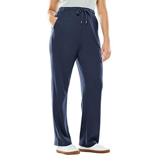 Woman Within Women's Plus Size Petite Sport Knit Straight Leg Pant, Navy, 2X Plus