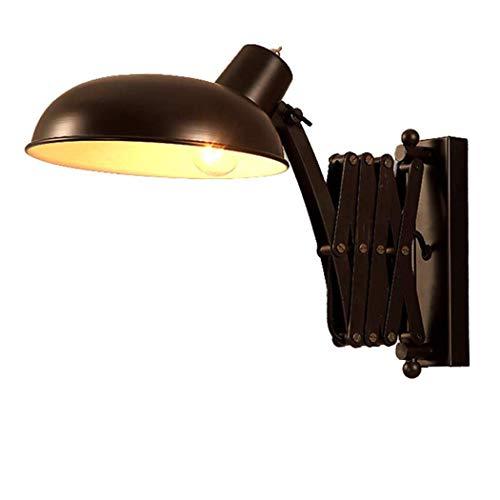 Vintage Industrial Wandlampe Metall Verstellbar Wandleuchte Innen Ausziehbar Scherenlampe Flexible Kleine Leselampe Mit Schalter Für Loft Schlafzimmer Wohnzimmer Büro, Schwarz E27