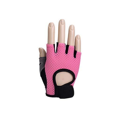 Dgtyui Guanti da fitness per uomo e donna traspiranti guanti da palestra guanti da allenamento per bodybuilding guanti mezze dita antiscivolo - Rosa XS
