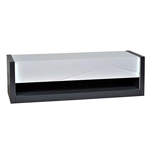 Tousmesmeubles Meuble TV 1 tiroir à LEDs - ECLYPSE - L 150 x l 50 x H 45 - Neuf