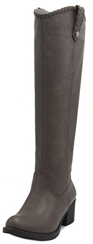 Rampage Women's Italie Riding Boot, Womens Tall Shaft Boot, Boots for Women, Knee High Boots 6.5 Grey with Whipstitch