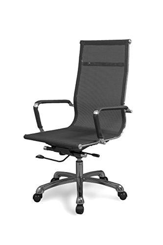 duehome Silla de Oficina, sillón para despacho o Estudio, Medidas: 58x108x62,5 cm, Color Negro