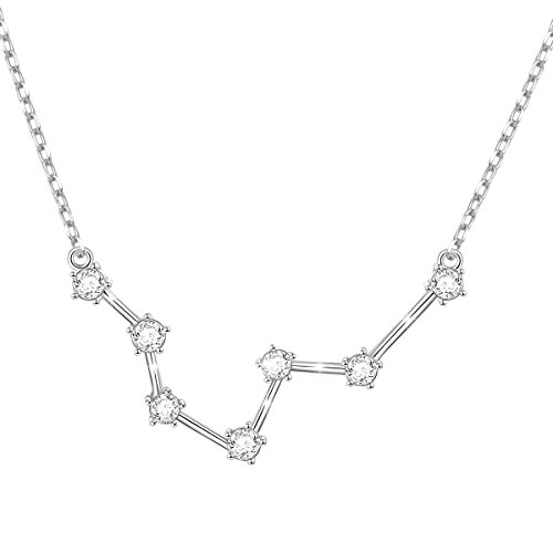 Constellation Necklace 925 Sterling Silver CZ Horoscope Zodiac Constellation Pendant Necklace for Women,18