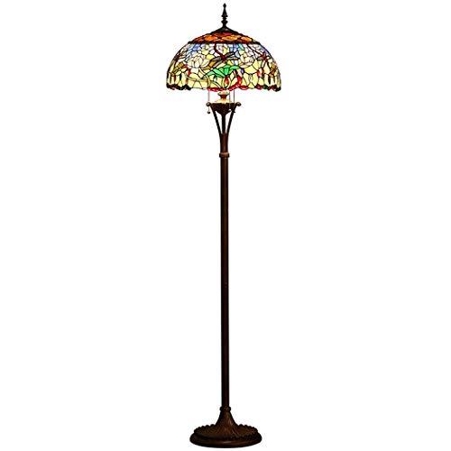 DSHBB staande lampen, 20 inch vloerlamp in landelijke stijl, tiffany-stijl, creatief met gekleurd glazen scherm, modern continu licht voor woonkamer en slaapkamer, E27 * 40 W