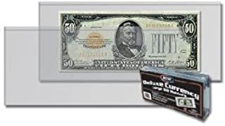 BCW - Deluxe Currency Holder - Large Bill (Dollar) Semi-Rigid Holder - (Pack of 50) - Currency and Coin Collecting Supplies