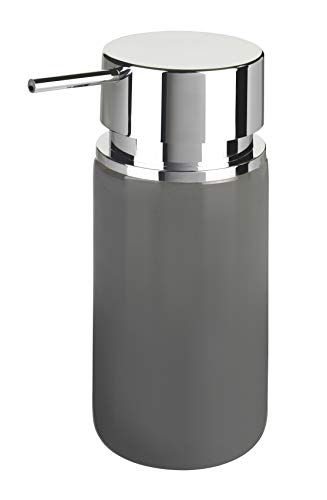WENKO Seifenspender Silo Grau - Flüssigseifen-Spender, Spülmittel-Spender Fassungsvermögen: 0.25 l, Keramik, 6.2 x 16.5 x 6.2 cm, Grau