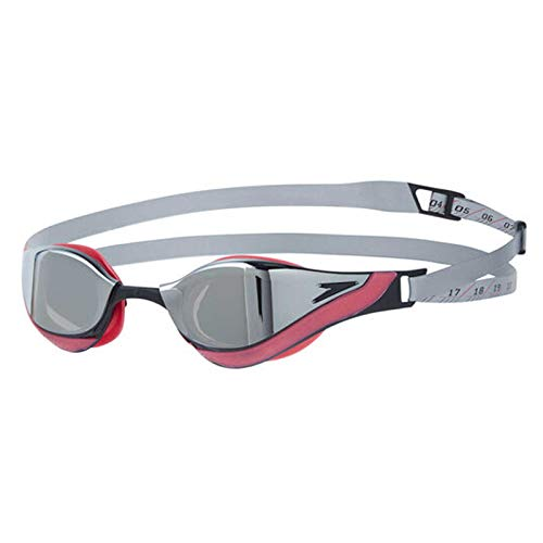 Speedo Fastskin Pure Focus Gog Mir Au Occhialini da Nuoto, Unisex - Adults, Silver/Psycho Red/Black/Chrome Taglia Unica