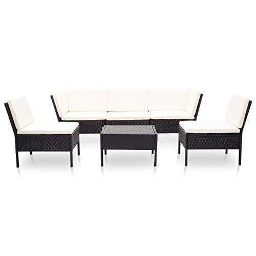 Tidyard 6-TLG.Garten-Lounge-Set Möbel-Set Garten-Sofagarnitur GartenmBel Sitzgruppe Gartenset Mit 2 x Sofa-Eckelement,3 x Sofa-Mittelteil,1 x Couchtisch,7 x Rückenpolster,5 x Sitzpolster