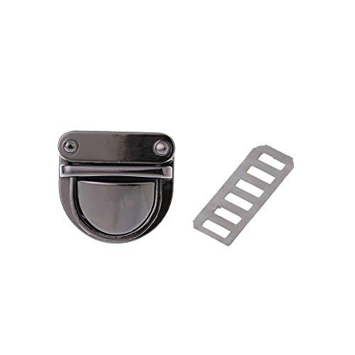 Dabixx chiusura in metallo con girello Twist lock per DIY borsa borsa borsa Hardware chiusura, metallo, Gun Black, 3x3cm/1.18x1.18'