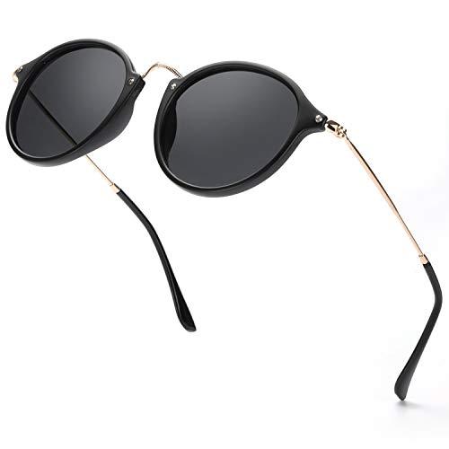 ELIVWR Redondas Retro Polarizadas Gafas de Sol Con Gafas de Sol Para Conducir Viajes Playa, 100% de Protección Contra Los Rayos UVA/UVB Dañi (negro+negro)