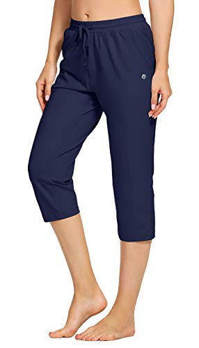 """VEOBIKE Womens Casual Capri Joggers Elastic Waist Stretch 20"""" Calf Length Indoor Sports Jersey Cropped Pants with Pockets"""