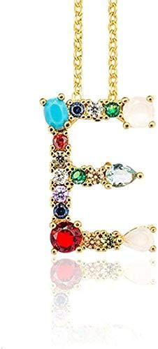 Yiffshunl Collar de Moda E - Mujeres exquisitas DIY Letra Inicial Colgante de Collar con Alfabeto con Nombre Accesorios de joyería creativos Regalo para Novia